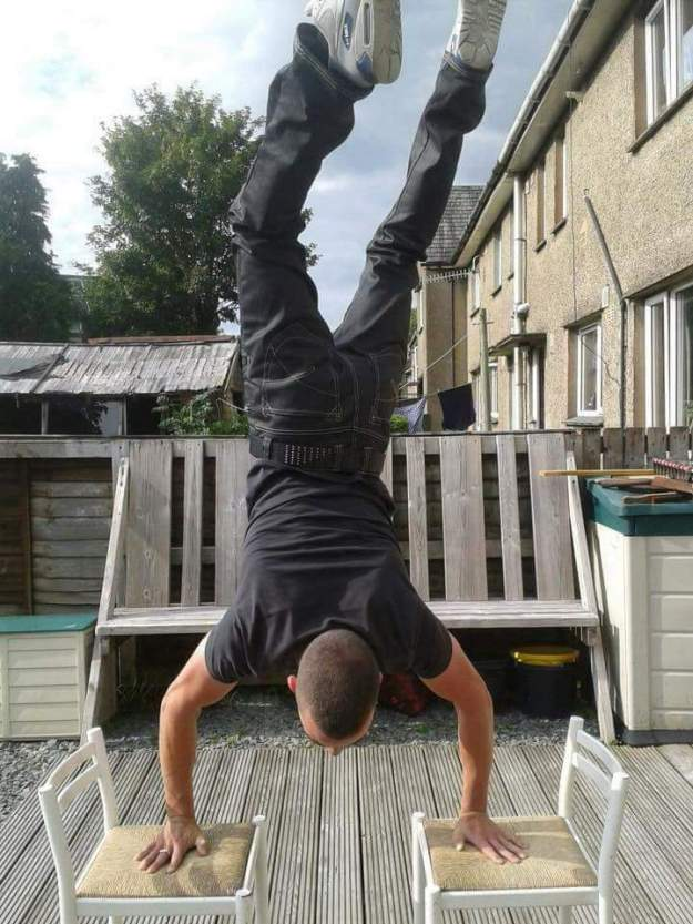 James doing handstand